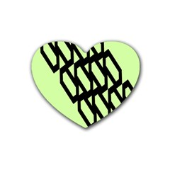 Polygon Abstract Shape Black Green Rubber Coaster (heart)
