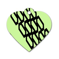 Polygon Abstract Shape Black Green Dog Tag Heart (Two Sides)