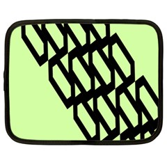 Polygon Abstract Shape Black Green Netbook Case (Large)