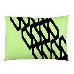Polygon Abstract Shape Black Green Pillow Case