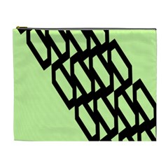 Polygon Abstract Shape Black Green Cosmetic Bag (XL)