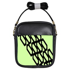 Polygon Abstract Shape Black Green Girls Sling Bags
