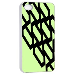 Polygon Abstract Shape Black Green Apple iPhone 4/4s Seamless Case (White)