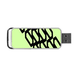 Polygon Abstract Shape Black Green Portable USB Flash (One Side)