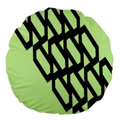 Polygon Abstract Shape Black Green Large 18  Premium Round Cushions