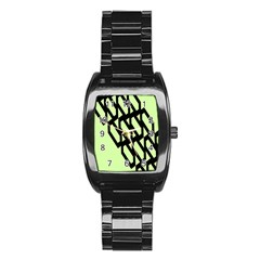Polygon Abstract Shape Black Green Stainless Steel Barrel Watch
