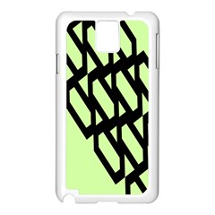Polygon Abstract Shape Black Green Samsung Galaxy Note 3 N9005 Case (White)