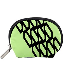 Polygon Abstract Shape Black Green Accessory Pouches (Small)