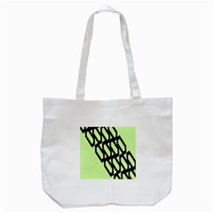 Polygon Abstract Shape Black Green Tote Bag (White)