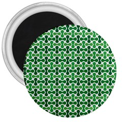 Green White Wave 3  Magnets