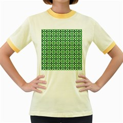 Green White Wave Women s Fitted Ringer T-Shirts