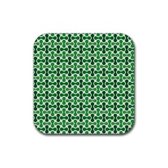 Green White Wave Rubber Coaster (square)