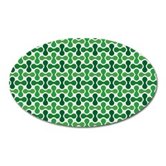 Green White Wave Oval Magnet