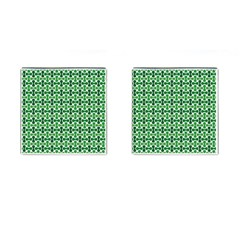 Green White Wave Cufflinks (Square)