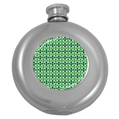 Green White Wave Round Hip Flask (5 oz)