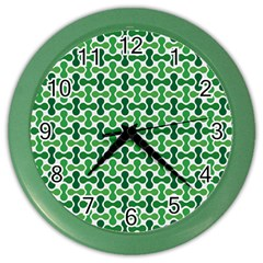 Green White Wave Color Wall Clocks