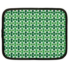Green White Wave Netbook Case (Large)
