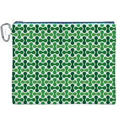 Green White Wave Canvas Cosmetic Bag (XXXL)