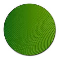 Green Wave Waves Line Round Mousepads