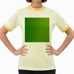 Green Wave Waves Line Women s Fitted Ringer T-Shirts