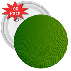 Green Wave Waves Line 3  Buttons (100 pack)