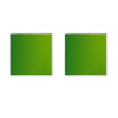 Green Wave Waves Line Cufflinks (Square)