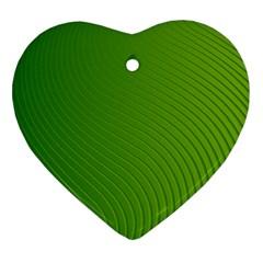 Green Wave Waves Line Heart Ornament (Two Sides)