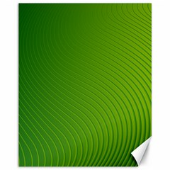 Green Wave Waves Line Canvas 11  x 14