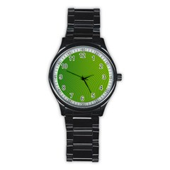 Green Wave Waves Line Stainless Steel Round Watch