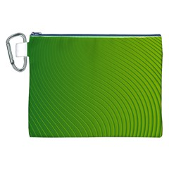 Green Wave Waves Line Canvas Cosmetic Bag (XXL)
