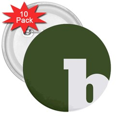 Square Alphabet Green White Sign 3  Buttons (10 pack)