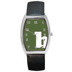 Square Alphabet Green White Sign Barrel Style Metal Watch