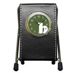 Square Alphabet Green White Sign Pen Holder Desk Clocks