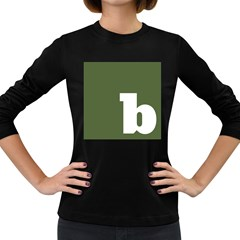 Square Alphabet Green White Sign Women s Long Sleeve Dark T-Shirts