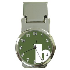 Square Alphabet Green White Sign Money Clip Watches