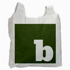 Square Alphabet Green White Sign Recycle Bag (one Side)