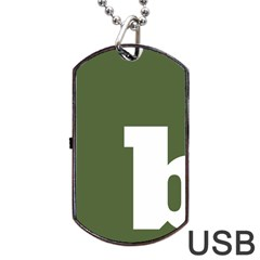 Square Alphabet Green White Sign Dog Tag USB Flash (Two Sides)
