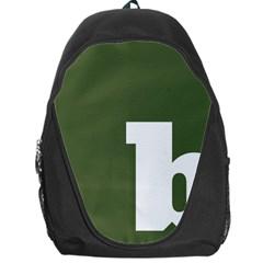 Square Alphabet Green White Sign Backpack Bag