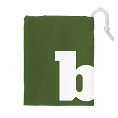 Square Alphabet Green White Sign Drawstring Pouches (Extra Large)