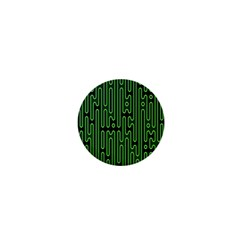 Pipes Green Light Circle 1  Mini Magnets