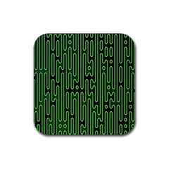 Pipes Green Light Circle Rubber Coaster (square)