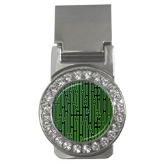 Pipes Green Light Circle Money Clips (CZ)