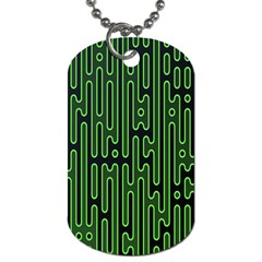 Pipes Green Light Circle Dog Tag (One Side)