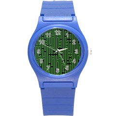 Pipes Green Light Circle Round Plastic Sport Watch (S)