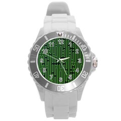 Pipes Green Light Circle Round Plastic Sport Watch (L)