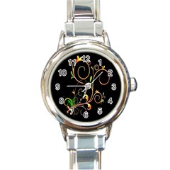 Flowers Neon Color Round Italian Charm Watch