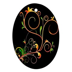 Flowers Neon Color Ornament (oval)