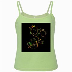Flowers Neon Color Green Spaghetti Tank