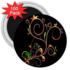 Flowers Neon Color 3  Magnets (100 Pack)