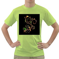 Flowers Neon Color Green T-Shirt